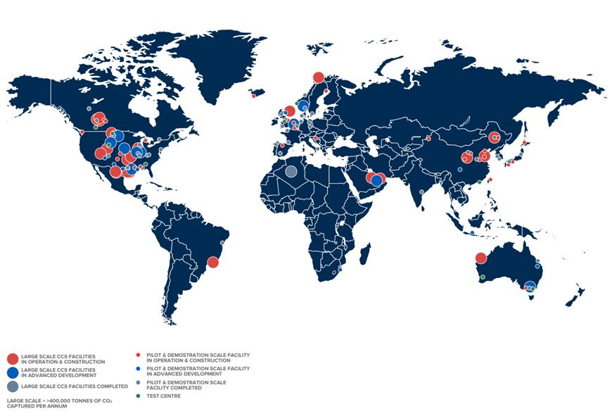 Figure 1: CCS facilities around the world. Taken from GCCSI 2019 Global Status of CCS20