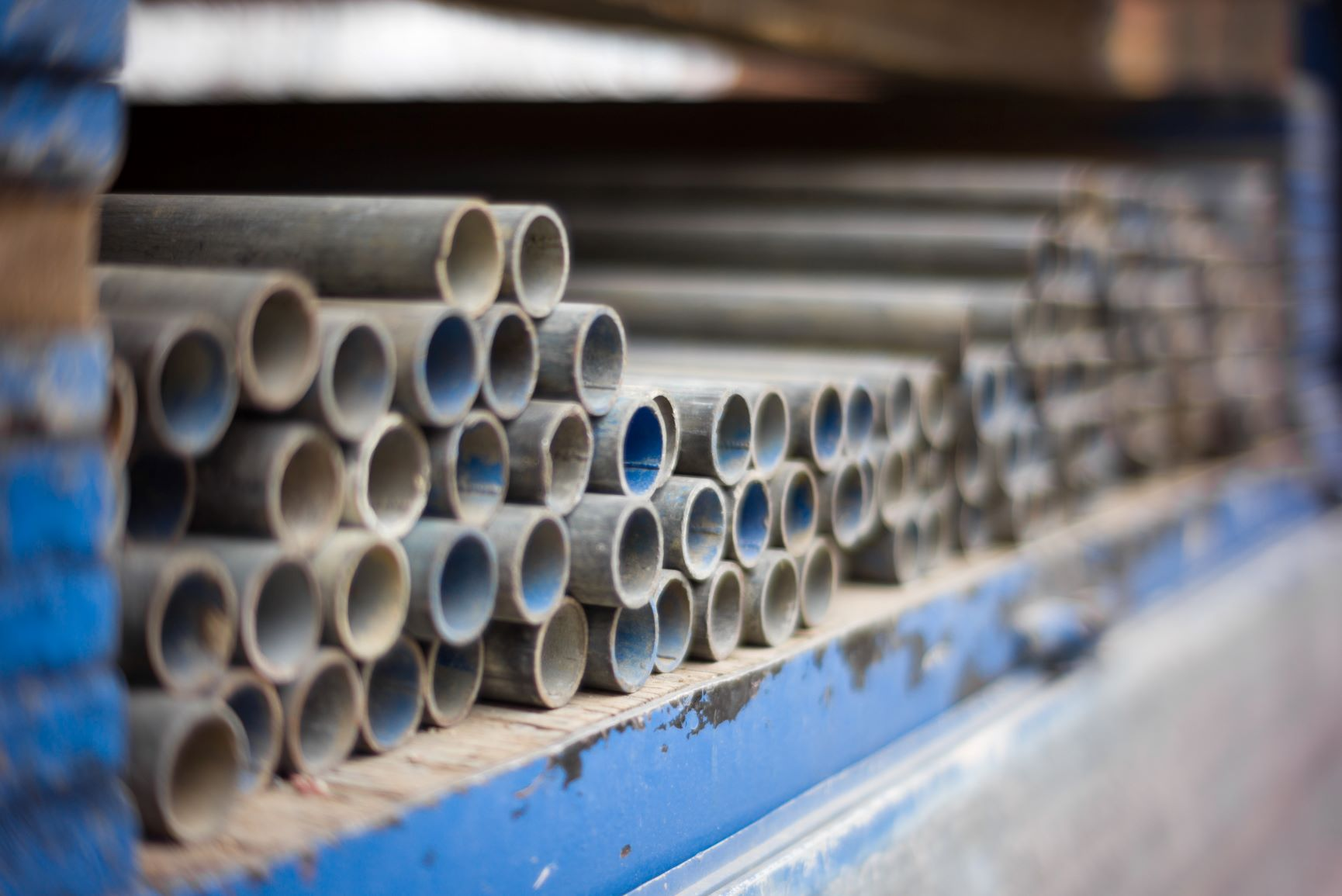 Steel pipes in storage